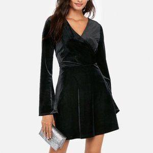Express Black Ribbed Velvet Wrap Top Dress Size M
